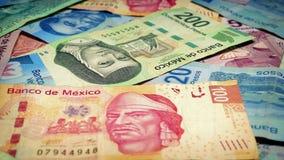 Mexican Peso Banknotes Rotating Closeup stock video