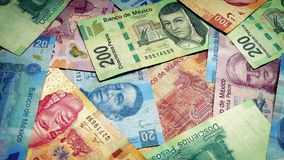 Mexican Peso Banknotes Rotating stock footage
