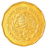 Mexican peso cents coin. Isolated on white background Royalty Free Stock Photography