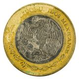 20 mexican peso coin 2001 isolated on white background. Specimen stock photography