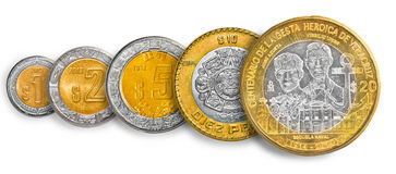 Mexican Peso coin line Royalty Free Stock Image