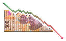 Mexican Peso Declining Graph bill Royalty Free Stock Images
