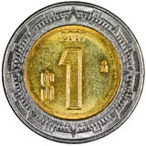 Mexican Peso. Mexican 1 Peso Gold and Silver Coin Reverse showing the Ring of Serpents of the Aztec Isolated Royalty Free Stock Image