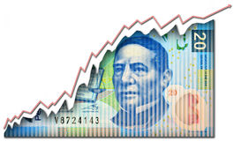 Mexican Peso Growth bill Royalty Free Stock Photo