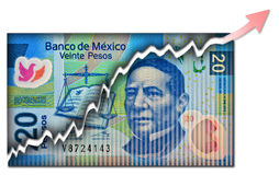 Mexican Peso Growth bill Royalty Free Stock Photos