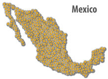 Mexican Peso Map Royalty Free Stock Photo