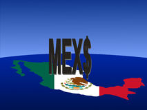 Mexican peso sign with map. Giant Mexican peso sign with map and flag of Mexico from space Stock Photos