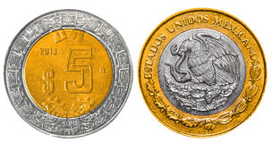 5 Mexican Pesos back and front. On white background Stock Photography