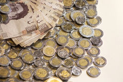 Mexican pesos banknotes and coins. Background Stock Images