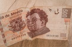 A 500 mexican pesos bill seems to be happy. Royalty Free Stock Photo