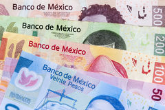 Mexican pesos bills. Money, coins and bills mexican pesos over a wooden table Stock Photography