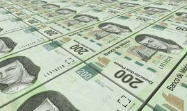 Mexican pesos bills stacks background. Royalty Free Stock Images