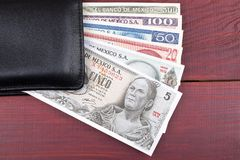 Mexican Pesos in the black wallet. On a wooden background Royalty Free Stock Image
