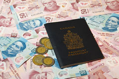Mexican pesos and Canadian passport Royalty Free Stock Photo