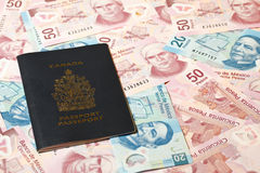 Mexican pesos and Canadian passport Royalty Free Stock Image