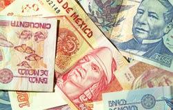 Mexican Pesos de Mexico. Various denominations of pesos, money from Mexico, Mexican currency.  Banco de Mexico. (macro,14MP camera