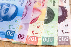 Mexican Pesos. Money, mexican pesos a pen and a number keypad over a wooden table Stock Image