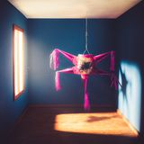 Mexican pinata hanging in a room. Mexican pinata, used commonly at posadas around Christmas Royalty Free Stock Photo