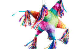 Mexican pinata used in posadas and birthdays. Colorful mexican pinata used in birthdays isolated on white Stock Photography