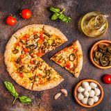 Mexican pizza with jalapeno pepper stock photo