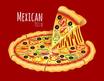 Mexican Pizza. A vector illustration of a cooked Mexican Pizza Royalty Free Stock Photo