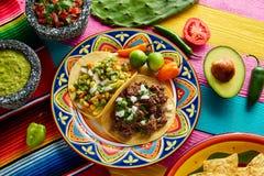 Mexican platillo tacos barbacoa and vegetarian Stock Photo