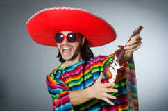 The mexican playing guitar wearing sombrero Stock Photography