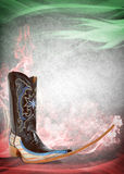 Mexican pointy boot poster - mexican tribal music club dancing template. Mexican pointy boot poster - mexican tribal music club dancing, crazy mexican trend Royalty Free Stock Photos