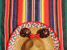 Mexican poncho background sombrero with maracas mariachi Mexico. Poncho sombrero background maracas mariachi theme with copy space Mexican Mexico stripe pattern royalty free stock images