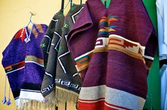 Mexican ponchos. Hanging for sale Royalty Free Stock Image