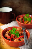 Mexican pork and capsicum stew, copy space for your text Stock Image