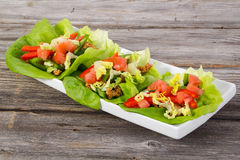 Mexican pork lettuce wraps Stock Image