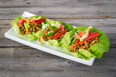 Mexican pork lettuce wraps Royalty Free Stock Image
