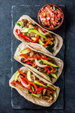 Mexican pork tacos with vegetables. Top view Stock Image