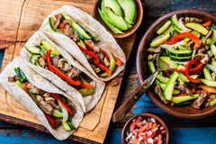 Mexican pork tacos with vegetables. Top view Royalty Free Stock Photography