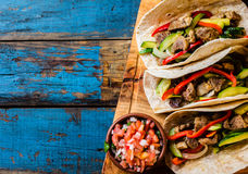 Mexican pork tacos with vegetables. Top view Stock Images