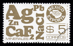 Mexican postage stamp mineralsexports Stock Image