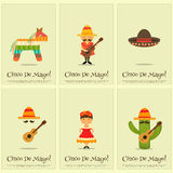 Mexican Posters. Cinco de Mayo - Mexican Mini Posters Collection in Retro Style. Vector Illustration