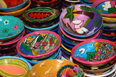 Mexican pottery. Typical traditional Mexican pottery bowls from Yucatan peninsula Stock Photo