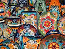 Mexican Pottery on Sale at Street Market, San Miguel de Allende, Mexico. Colorful pottery on sale at street market and souvenir shop in San Miguel de Allende royalty free stock photography