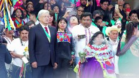 Mexican President participates in a ancient ritual. Mexico City, Mex. 01/12/2018. Andres Manuel Lopez Obrador participates in an indigenous ritual during his stock video footage