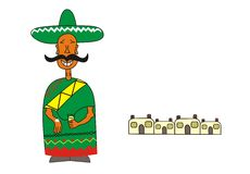 Mexican and pueblo. An illustration of a mexican with a teqilla and salt in his hands Royalty Free Stock Images