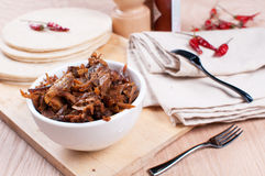 Mexican pulled pork with spices and tortillas Stock Photos
