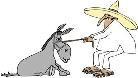 Mexican pulling a stubborn donkey. This illustration depicts a Mexican man wearing a sombrero and sandals pulling on a stubborn, sitting donkey Royalty Free Stock Photography