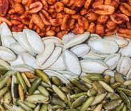 Mexican pumpkin seeds and peanuts Stock Photography
