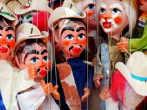 Mexican Puppets. Handmade painted Mexican Puppets from Olvera Street in downtown Los Angeles, California stock image