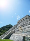 Mexican pyramid in the sun. Olmec pyramid in the sun in Palenque Royalty Free Stock Photo