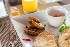 Mexican quesadilla breakfast with plantains. In riviera maya Mexico at the beach restaurant royalty free stock images