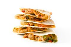 Mexican quesadilla with chicken, cheese and peppers, isolated on. White background royalty free stock photo