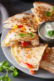 Mexican quesadilla with chicken, tomato, sweet corn and cheese stock images